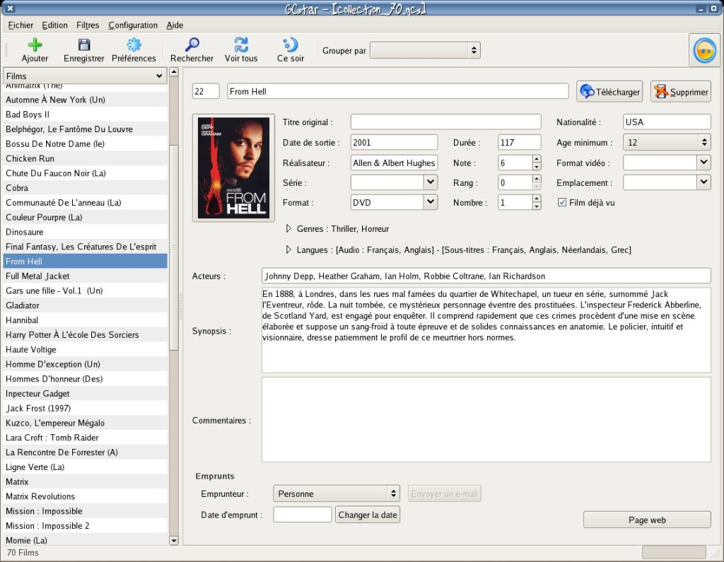 gcstar screenshot